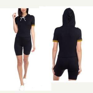 Stripe band top & biker shorts set - Large